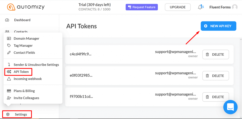 where is automizy api token