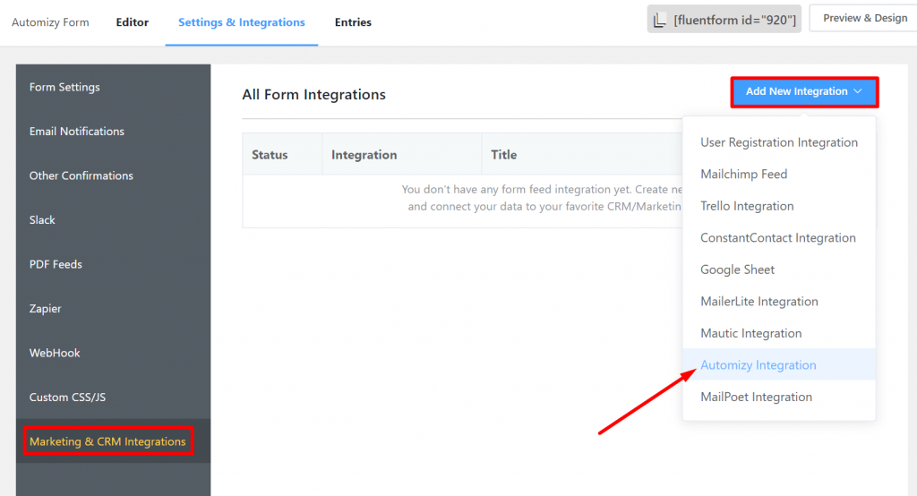 Automizy Integration with WP Fluent Forms
