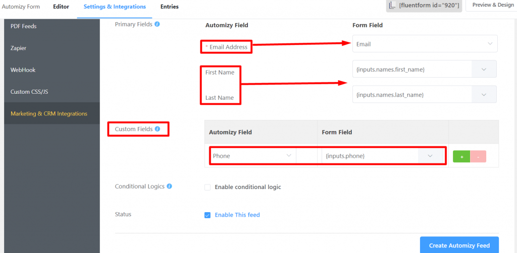 Fluent Forms Creating a Feed for the Automizy Integration
